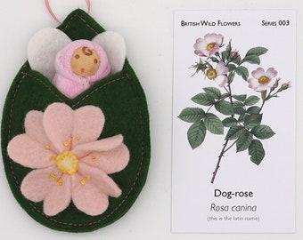 Rose flower fairy doll | finger puppet | Wool felt doll | waldorf inspired | Wild flowers | June birth flower