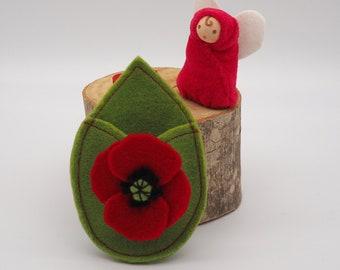 Poppy flower fairy doll | Wild flowers | finger puppet | waldorf inspired | August birth flower