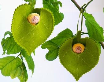Lime leaf baby fairy doll - waldorf tiny doll