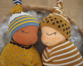 Natural Baby doll, a soft snuggly gift for a baby boy or girl, choose how you want your dolly to look