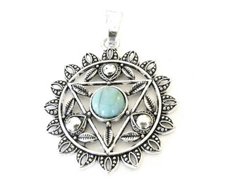 Large Antique Silver Flower Pendant with Turquoise Cabochon, Womans Silver Pendant, DIY Necklace Pendant, Flower Jewelry, Blue Pendant