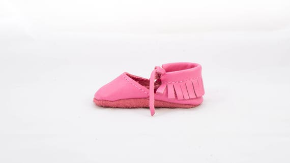 Genuine LEATHER Mary Jane Lace MOCCASIN for Baby// Toddler Blush Pink 24-30 month