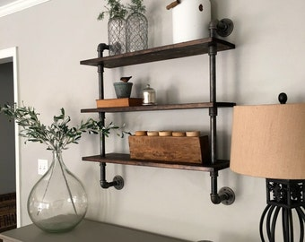 Recliamed U0026 Upcycled Wood And Metal Piping Shelves . Wall Decor / Rustic /  Studio Chic / Cottage Chic