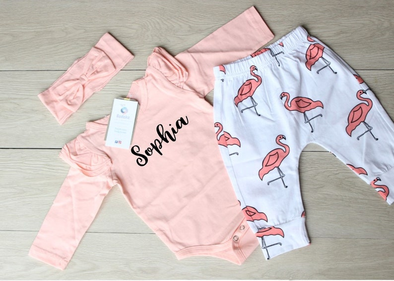Let/'s Flamingle Outfit Baby Girl Flamingo Outfit Name Bodysuit Flamingo Pants and Matching Headband Coral Flamingo Outfit Coming Home Outfit