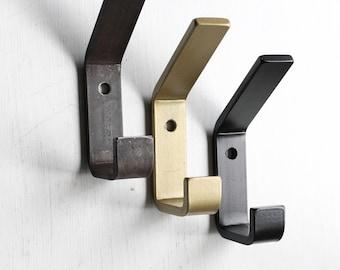 Double Metal Wall Hooks, Modern Farmhouse Hook, Waxed, Black, or Brass