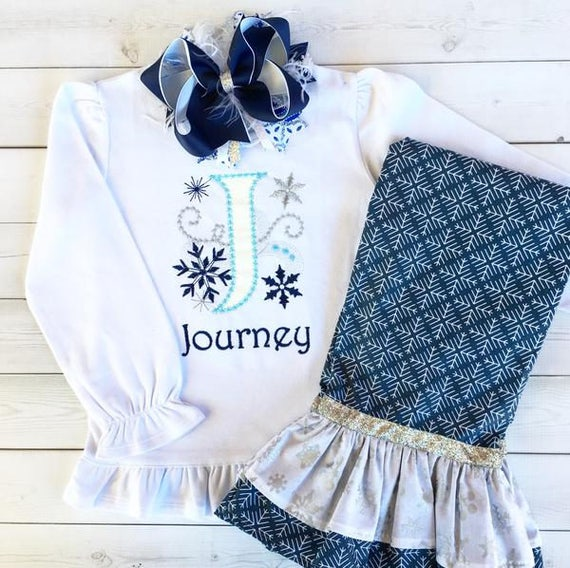 Elsa Outfit, Girls Disney Outfit, Princess Outfit, Birthday Outfit,  Snowflake Shirt, Snowflake Pant Set, My Darling Bee, Frozen Shirt