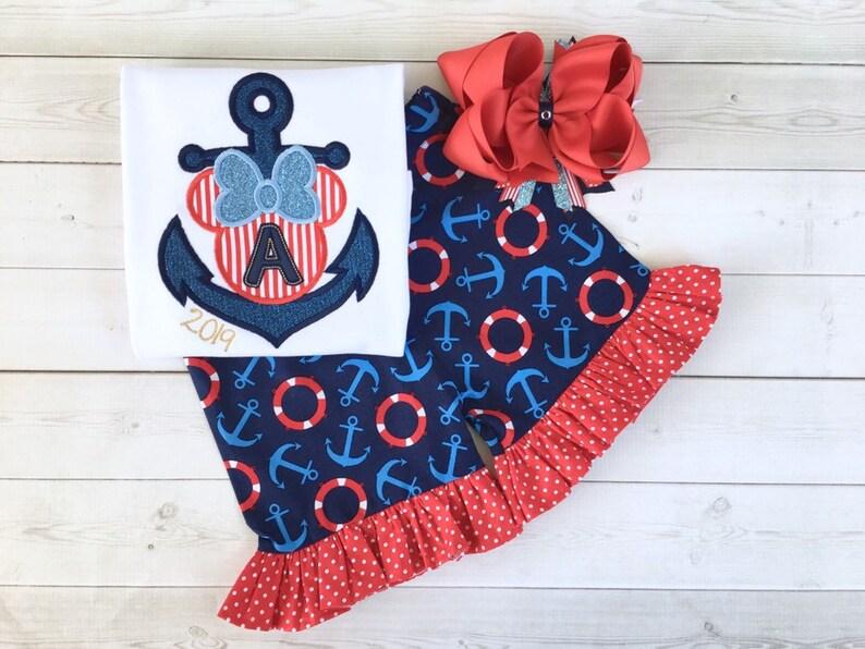 Disney Outfit for Girls, Custom Disney Cruise Outfit, Disney Cruise Shirt,  Embroidered Outfit, Girls Cruise Outfit, Cruise Outfit for Toddle