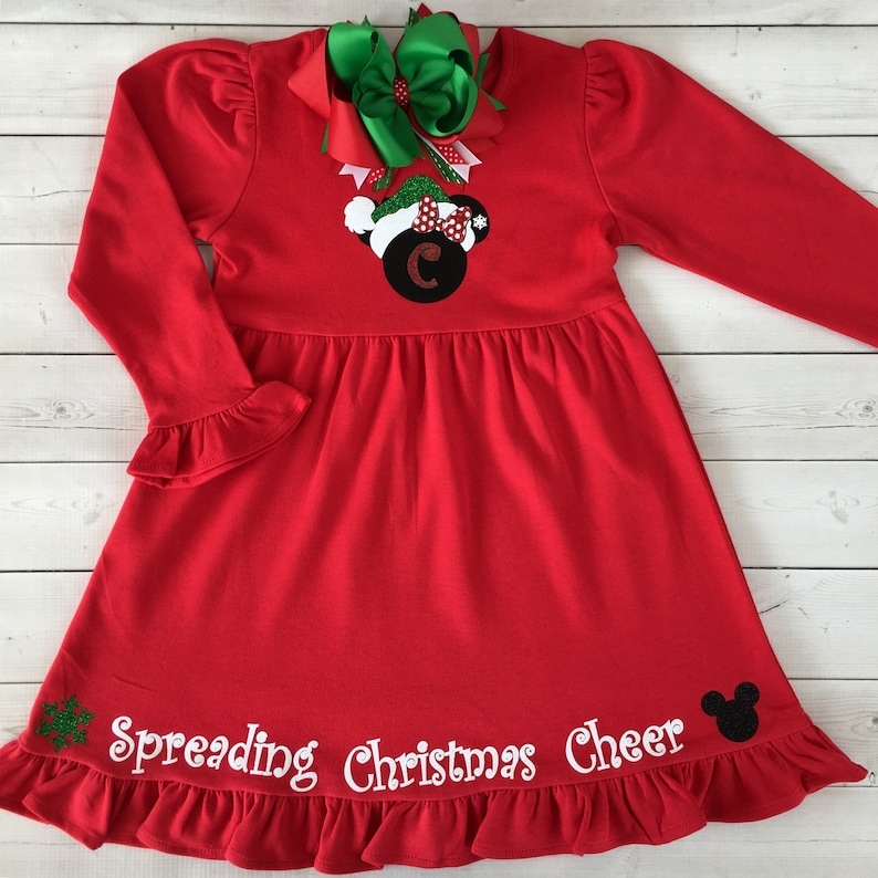 bbf68168d Disney Christmas Dress Minnie Mouse Dress Girls Christmas | Etsy