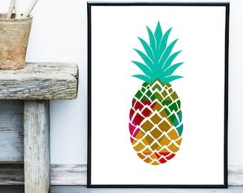 Pineapple Print, Pineapple Decor, Tropical Print, Giclee print, Wall Art,  Poster, Wall Decor, Home Decor