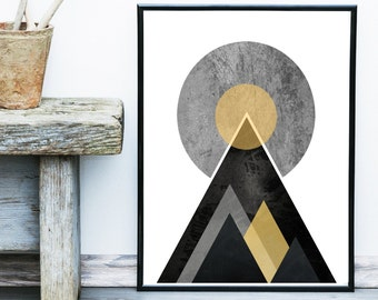 Minimalist Wall Art, Scandinavian Art, Geometric Print, Mountain Print, Modern Art, Giclee print, Wall Art, Home Decor, Wall Decor