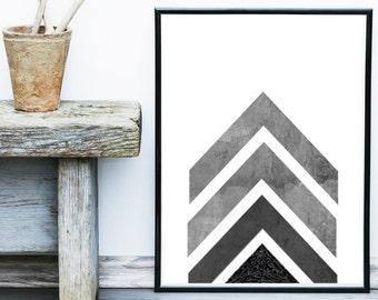 Geometric Art, Geometric Wall Art, Arrow Art, Grey Wall Art, Scandinavian Art, Geometric Art Print, Giclee print,  Wall Decor, Wall Art
