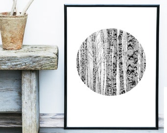 Minimalist Poster, Tree Print, Abstract Photo, Scandinavian Trees, Circle Print, Art Print, Scandinavian Print, Grey Wall Decor