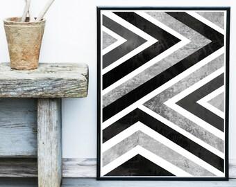 Grey Geometric Art, Scandinavian Print, Geometric Wall Art, Art Print,  Giclee print, Abstract Wall Art,  large Print, Abstract Art Print