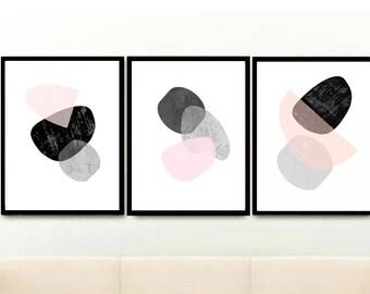 Pink And Grey Art, Scandi Art, Set of 3 Prints, Triptych, Minimalist Poster, Scandinavian Prints, Giclee prints, Wall Art, Wall Decor