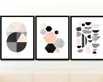 Scandinavian Wall Art, Set Of 3 Prints, Pink And Grey Art, Minimalist Art, Abstract Art Prints,  Giclee print, Wall Art, Wall Decor