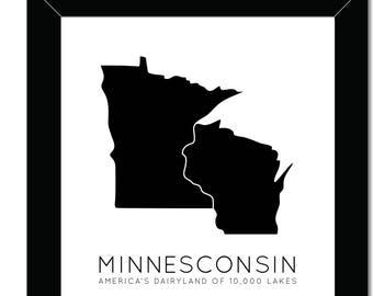Minnesconsin | 8x10 | America's Dairyland | Land of 10000 Lakes | Midwest Print | Wisconsin Minnesota | Midwest Printable | Instant Download