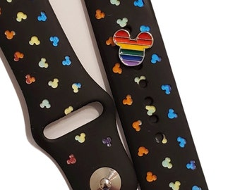 Mickey Rainbow charm for smart watch bands, silicone strap accessory