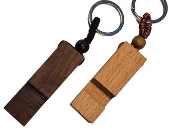 Wood Keychain phone holder in Walnut and Beechwood