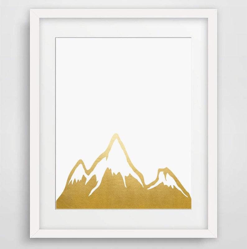 photograph regarding Silhouette Printable Gold Foil called Gold Foil Print, Mountain, Mountain Print, Printable, Gold, Mountain Artwork, Gold Foil Artwork, Push Poster, Wall Decor, Rustic Property Decor, Boho