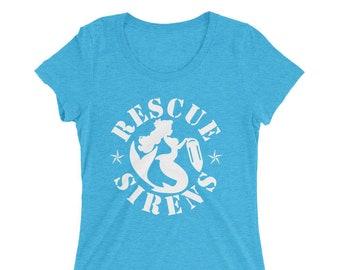 Rescue Sirens Emblem Triblend T-Shirt - Women's - Mermaids On Duty