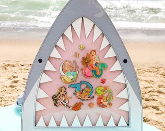 Kawaii Shark Ita Bag/Backpack - show your enamel pins in the clear display window - designed & produced by Rescue Sirens: Mermaids on Duty