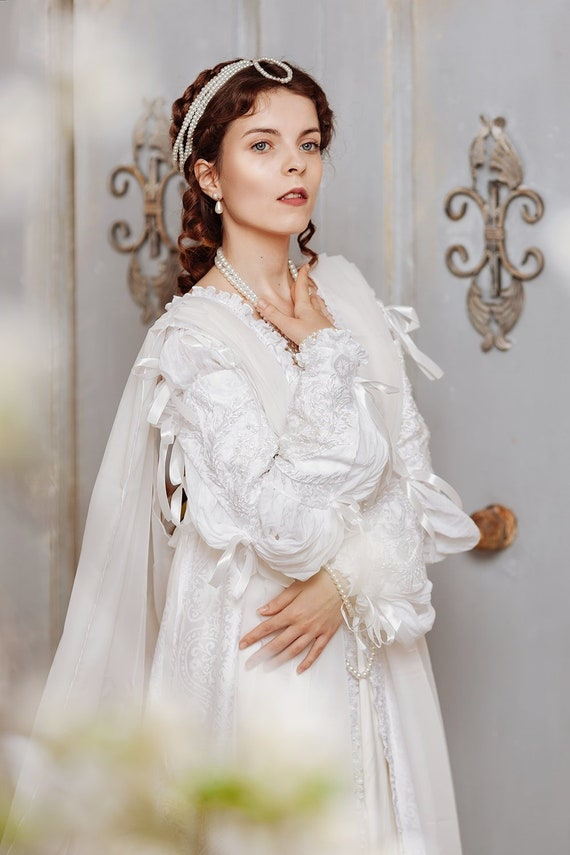 Renaissance White Wedding Dress Ever After Style Woman Dress Etsy