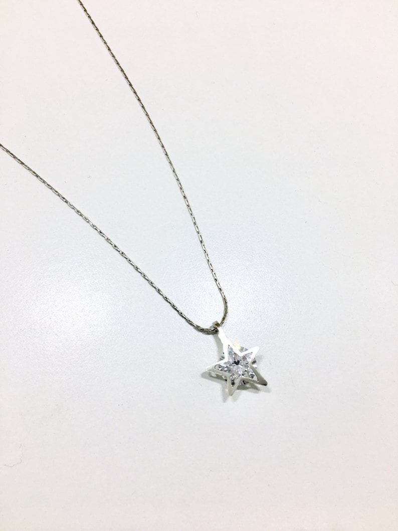 6c049aba677bb Sterling silver diamond shaped necklace with Cubic Zirconia - Unique  diamond necklace - wishing star- Everyday wear-Shape of You