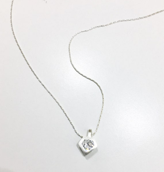 b9694dc65504c Sterling silver diamond shaped necklace with Cubic Zirconia - Unique  diamond necklace - diamond - Everyday wear - Shape of You