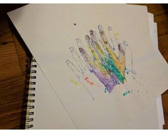 Splatter paint hand print