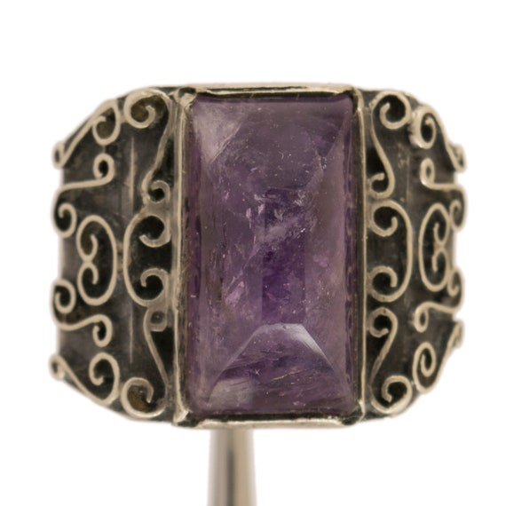 Early Vintage Mexican Sterling Silver Amethyst Cab