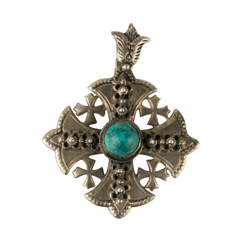 Vintage Double Sided Taxco Mexican Sterling Silver Azureite Malachite Pendant