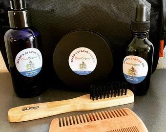 Beard Grooming Kit - Beard Oil - Beard Kit - Contains: Beard Oil, Beard Balm, Beard Wax, and Soap in Re-Usable zipper purch