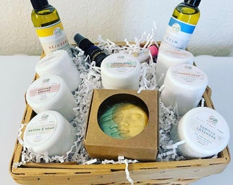 Large Vegan Skincare Basket, Selfcare gift, Relaxation, Mom Gift, Wife Gift, Spa Gift, Holiday Basket