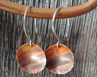 Copper Hammered Rustic Earring discs Sterling Silver Handmade Earwires