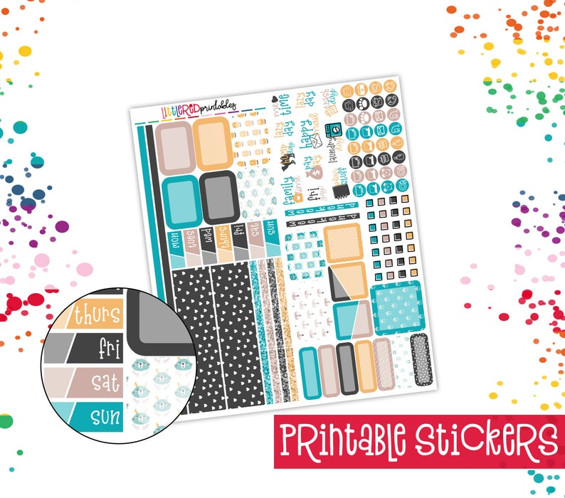 image regarding Free Printable Planner Stickers Pdf named PRINTABLE - Hobonichi Months Package - Wild and Totally free Printable Mini Package, Planner Stickers, Printable PDF, Fast Obtain Stickers - [HWK0103]