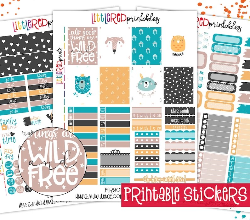 photograph about Free Printable Planner Stickers Pdf identified as PRINTABLE - Comprehensive Package - Wild and No cost Printable Finish Package, Planner Stickers, Printable PDF, Fast Down load Stickers - [FK0103]