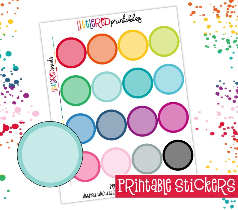 picture regarding Circle Printable Stickers called PRINTABLE - Higher Circle Printable Stickers, Planner Stickers, Printable PDF, Prompt Obtain Stickers - [P1004]