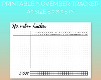 PRINTABLE November 2018 Habit Tracker | Printable Paper, Dot Grid Paper, Planner Paper, Writing Paper, Bujo Paper | PDF | Instant Download