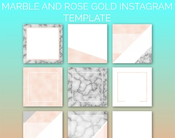 Marble and Rose Gold Instagram Template Pack | Instaquotes, Social Media Design, Social Branding, Instagram Design | Instant Download