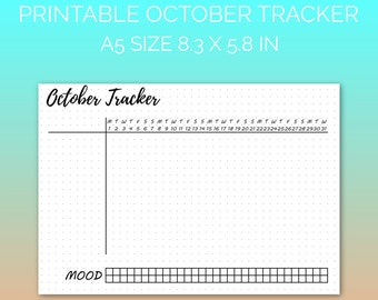 PRINTABLE October 2018 Habit Tracker | Printable Paper, Dot Grid Paper, Planner Paper, Writing Paper, Bujo Paper | PDF | Instant Download
