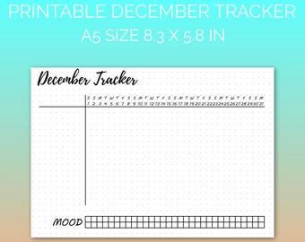 PRINTABLE December 2018 Habit Tracker | Printable Paper, Dot Grid Paper, Planner Paper, Writing Paper, Bujo Paper | PDF | Instant Download