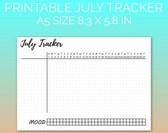 PRINTABLE July 2018 Habit Tracker | Printable Paper, Dot Grid Paper, Planner Paper, Writing Paper, Bujo Paper | PDF | Instant Download