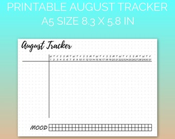 PRINTABLE August 2018 Habit Tracker | Printable Paper, Dot Grid Paper, Planner Paper, Writing Paper, Bujo Paper | PDF | Instant Download