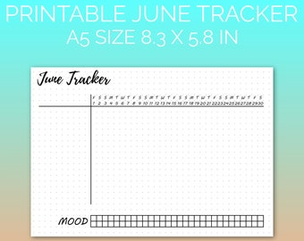 PRINTABLE June 2018 Habit Tracker | Printable Paper, Dot Grid Paper, Planner Paper, Writing Paper, Bujo Paper | PDF | Instant Download