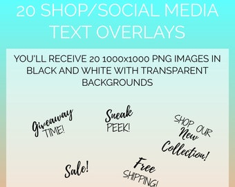 20 Shop/Social Media Text Overlays | Text Overlays, Digital Overlays, Design Template, Branding Kit | Instant Download