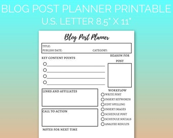 Blog Post Planner Printable | Blog Planner, Blogging, Blog Organizer, Printable Planner, Planner Inserts | PDF | Instant Download