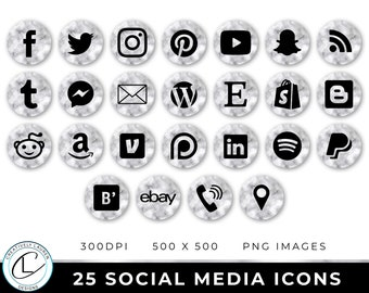 25 Social Media Icons | Marble Social Media Icons, Social Media Buttons, Website Icons, Marble Icons, Marble Buttons | Instant Download