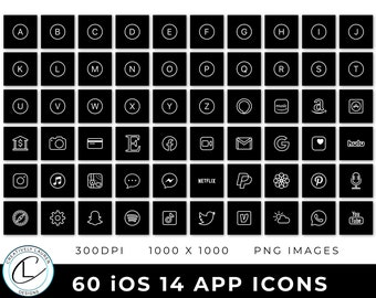 60 Black and White iOS 14 App Icons   iOS 14 Icons, Black and White Icons, Black and White iOS 14 Icons, Aesthetic Icons   Instant Download