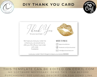 Gold Lips Thank You Card | DIY Logo Design, Lips Card, Business Card, Small Business Card, Digital Card | Downloadable and Editable