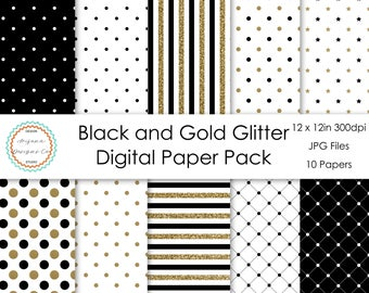 Black and Gold Glitter Digital Paper Pack | Digital Paper, Scrapbook Paper, Printable Paper, Digital Scrapbook | Instant Download